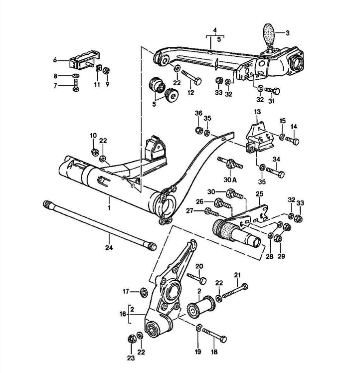 Rear Torsion Bar Carrier Exploded View